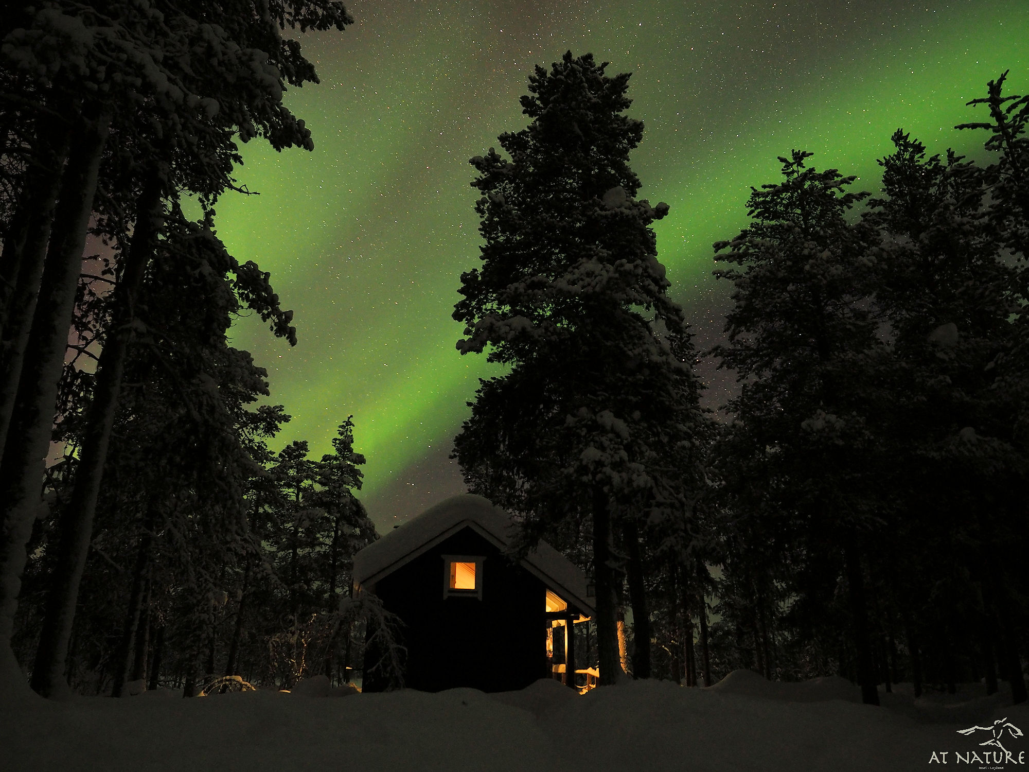 AT Nature Traditional Sauna with Northern Lights.