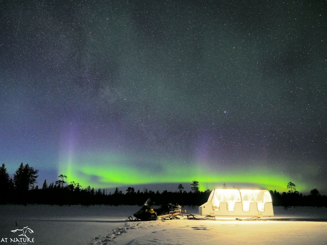 AT Nature heated glass-roof sleigh under northern lights.
