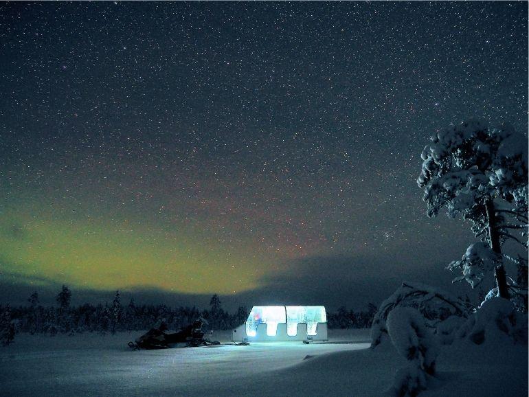 AT Nature Sleigh under Aurora Borealis.