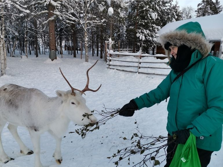 A guest of AT Nature is feeding a reindeer.